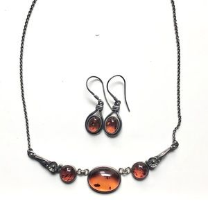 Amber necklace and earring set